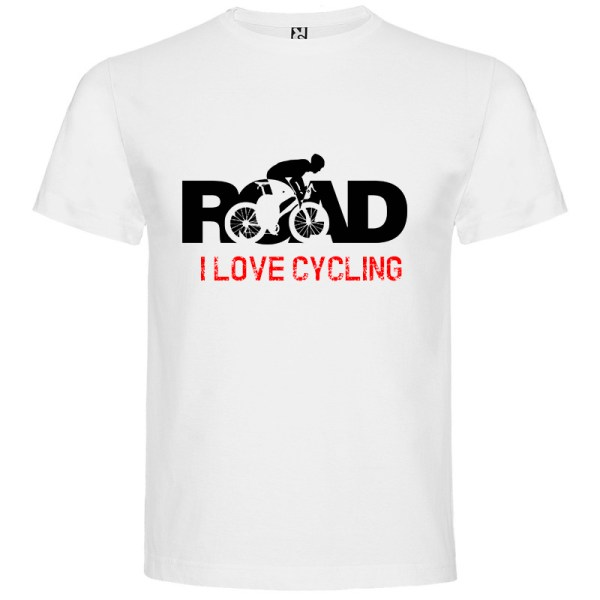 Camiseta para hombre MTB I Love Cycling Road en color Blanco