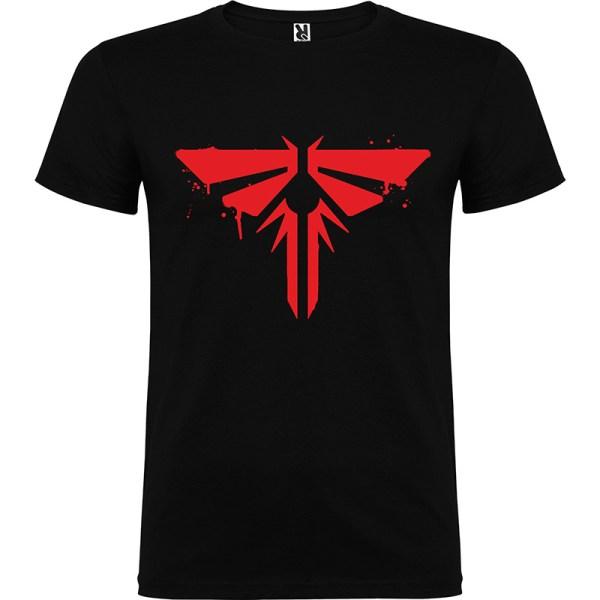 Camiseta para chico tThe last Of Us Firefly color negro logo en rojo