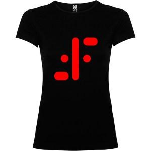 Camiseta para mujer serie tv visitantes en negro logo rojo