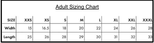 Adult Sizing Chart Keegs