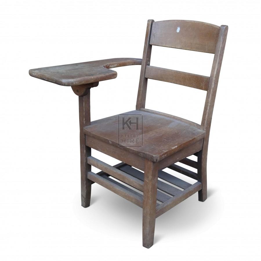 School Equipment Prop Hire  Wooden Chair with Desk Arm