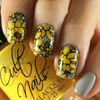 Yellow and Grey Nail Art - Keely's Nails