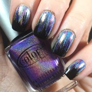 glitch holographic waterfall nail