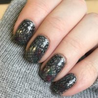 Gothic Nail Art with lace stamping freehand roses - Keely ...