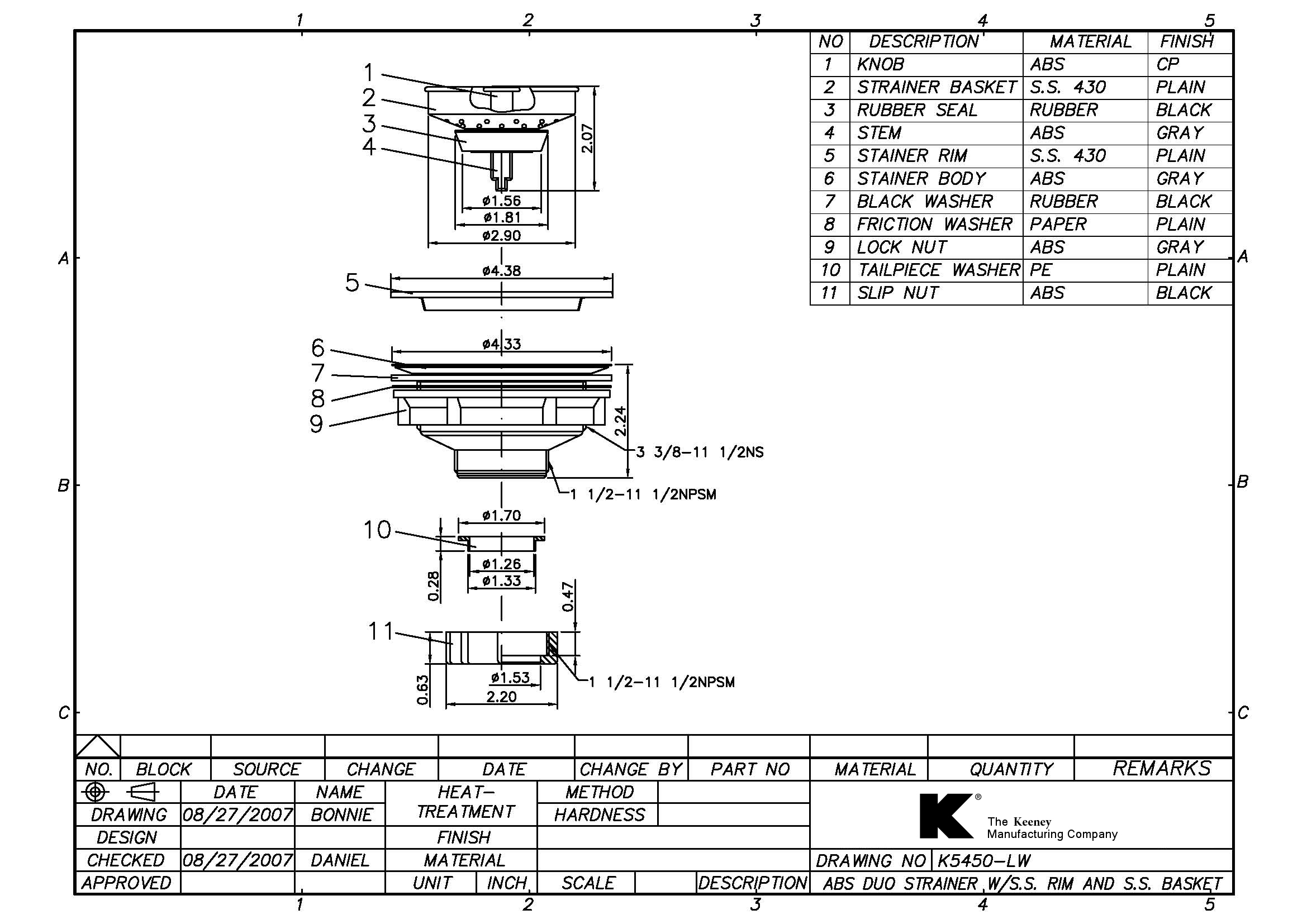 Sink Strainers  CAD Drawings  The Keeney Manufacturing