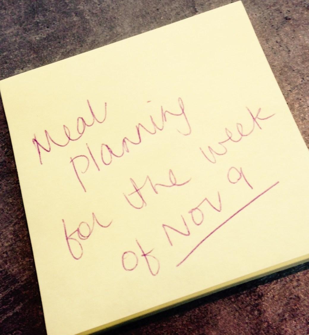 Meal planning Nov 9