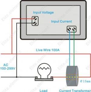 Digital AC 300V 50A Current Voltage Ammeter Combo Meter