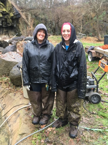 Autumn and Katy in waders and rain gear