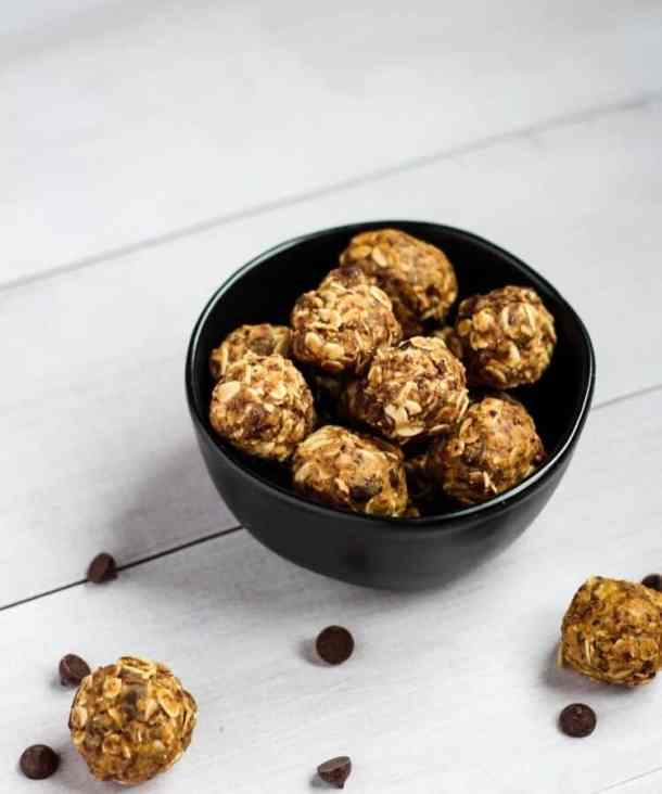 vegan protein balls and chocolate chips