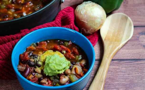 easy vegan chili with wooden spoon