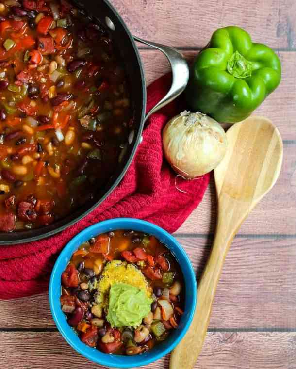 pot of chili with pepper and onion