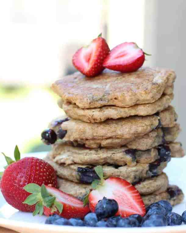 blueberry pancakes with strawberries