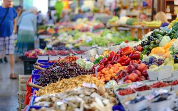 close up of produce in market