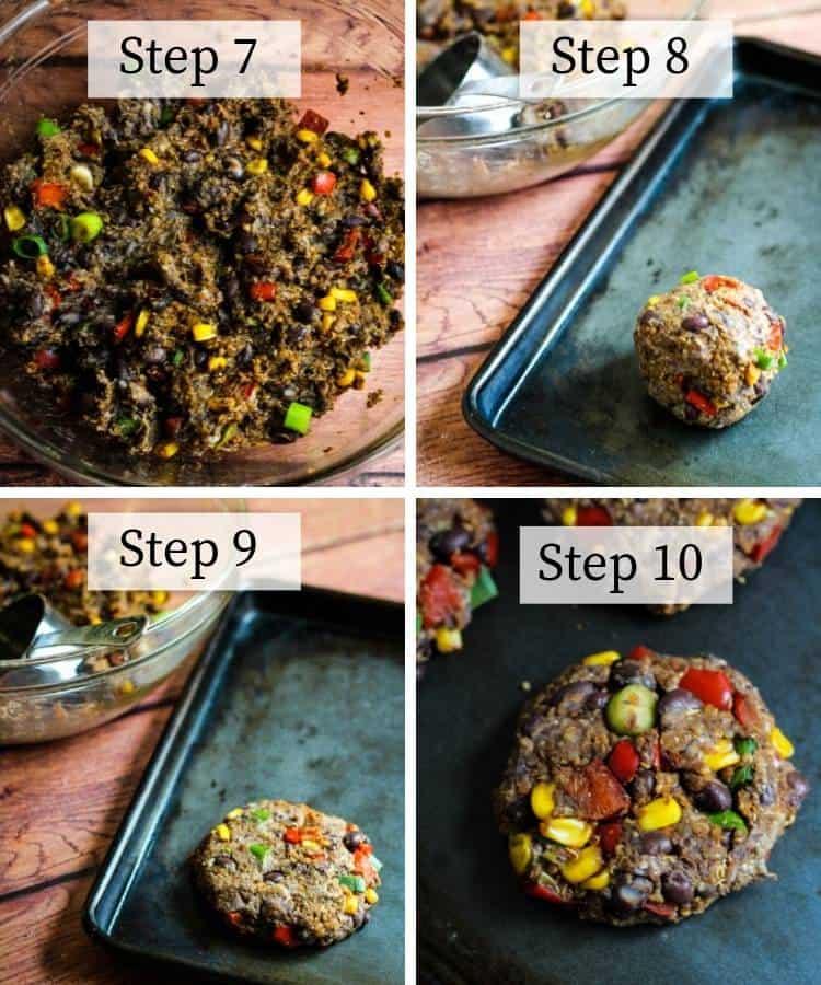 how to make black bean quinoa burgers step by step