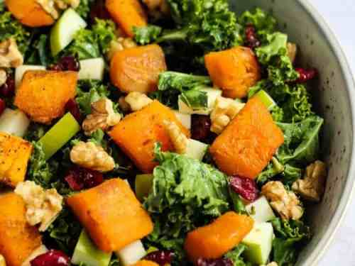 Kale Salad with Cranberries and Butternut Squash