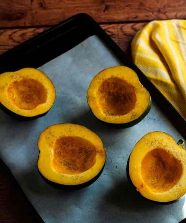acorn squash with salt and pepper