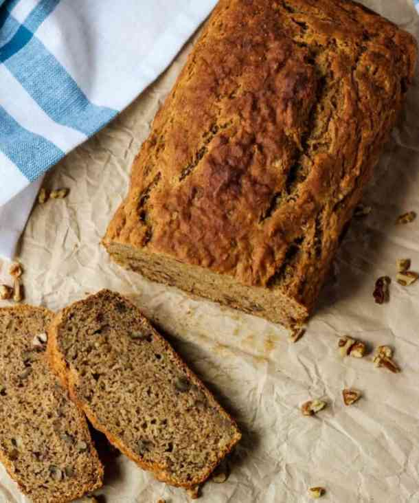 slices and loaf of dairy free banana bread