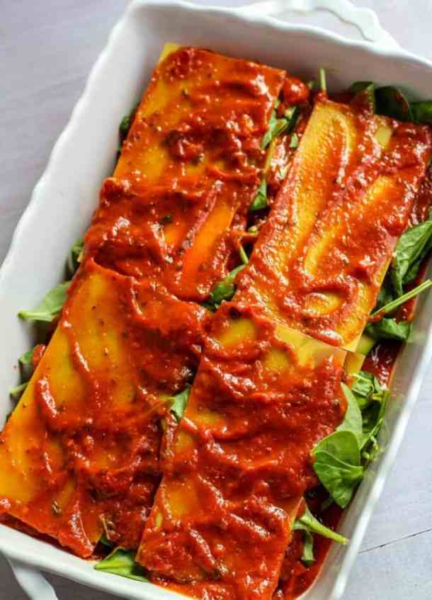 gluten free vegan lasagna before oven