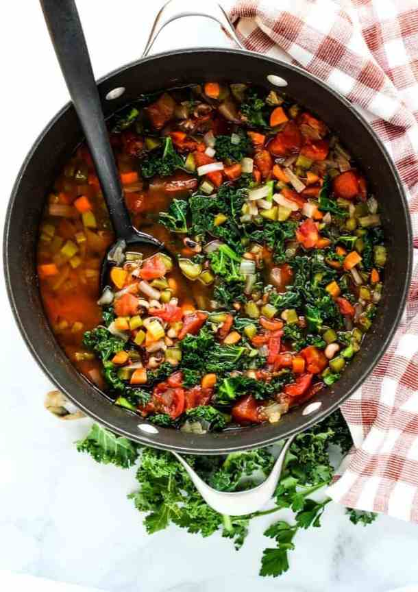 black eyed pea soup with kale in pot