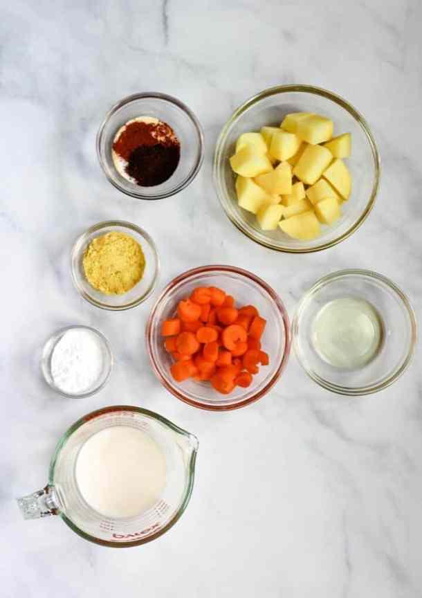 potatoes carrots, spices