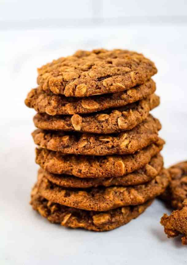 vegan oatmeal cookies in a stack