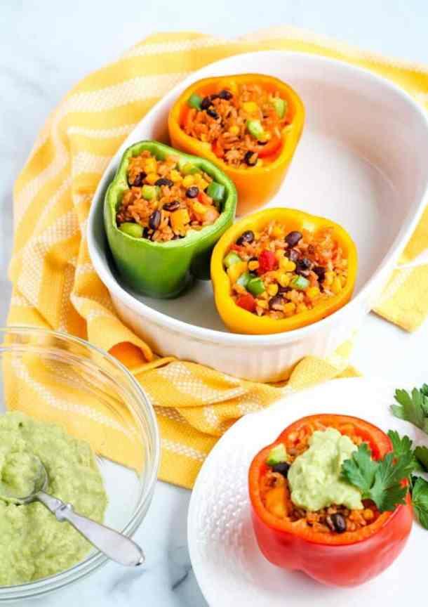 vegan stuffed peppers with avocado cream