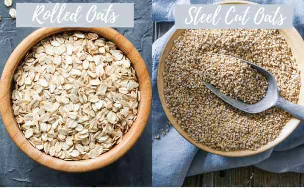 rolled oats and steel cut oats in a bowl