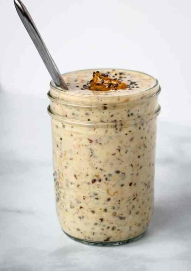 peanut butter overnight oats in mason jar