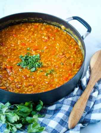 lentils in pot with parsley and spoon