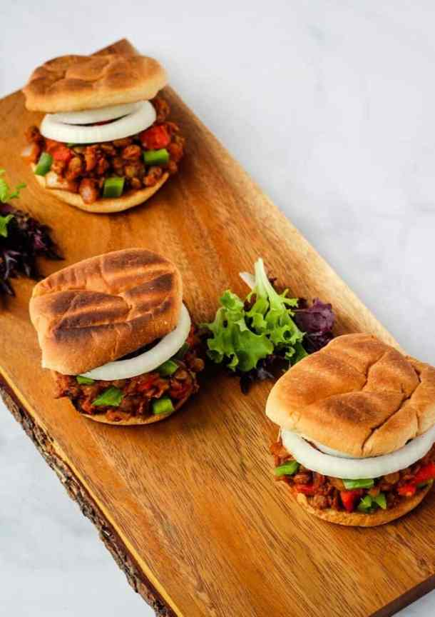 vegan sloppy joes overhead