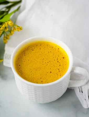 golden turmeric latte overhead