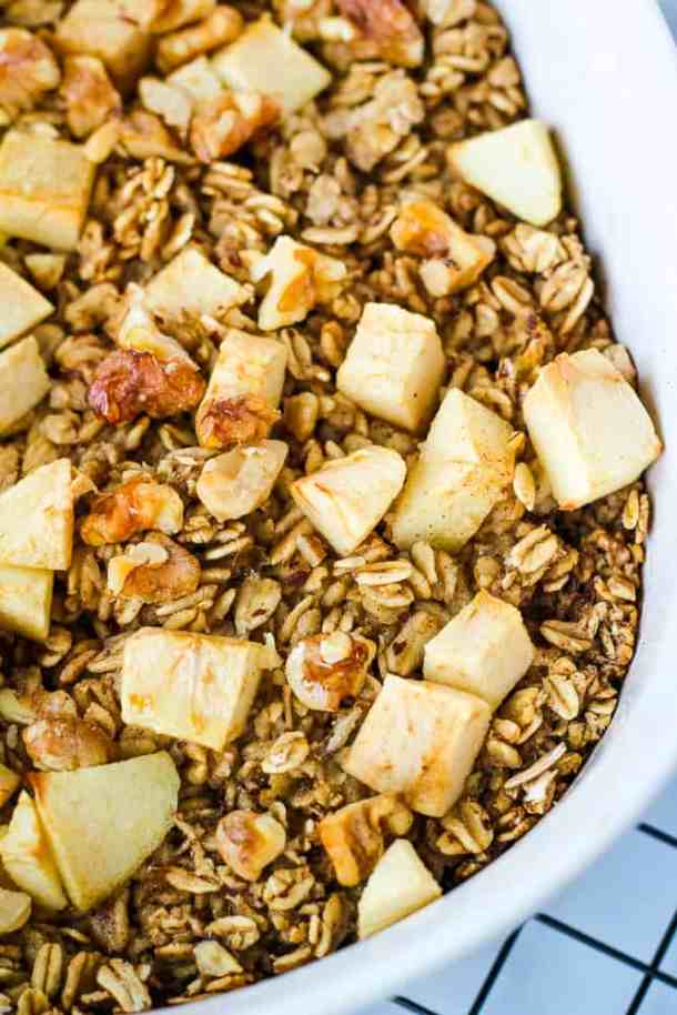 close up apples on top of oats