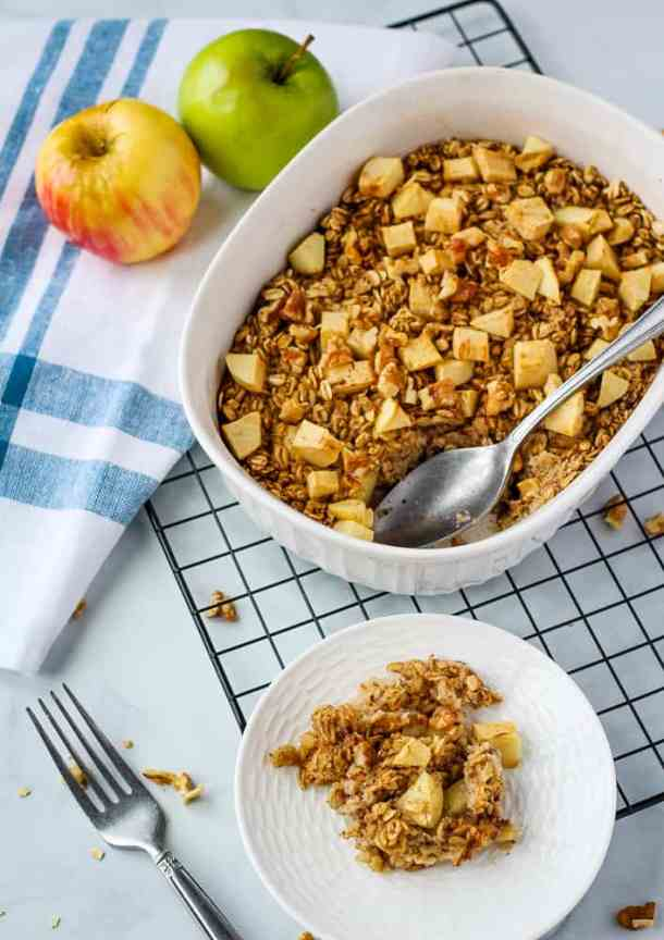 vegan baked oatmeal in baking dish with spoon