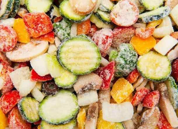 close up of frozen mixed vegetables