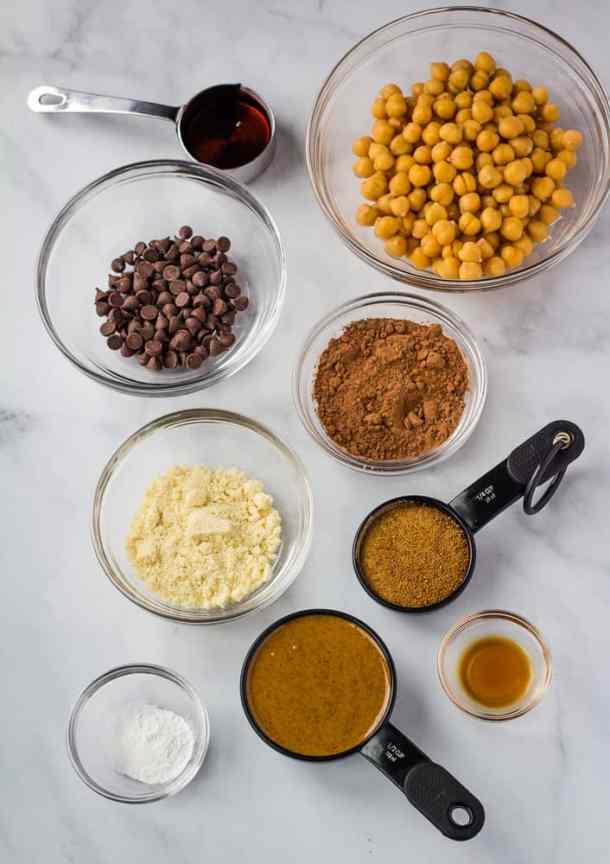 chickpea brownie ingredients