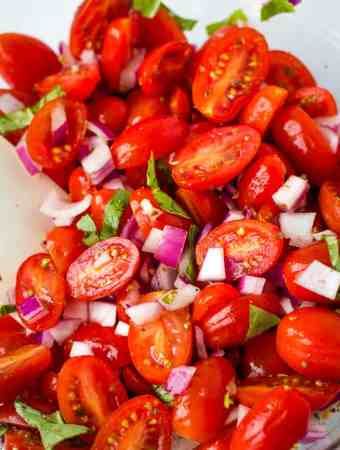 Italian tomato salad close up
