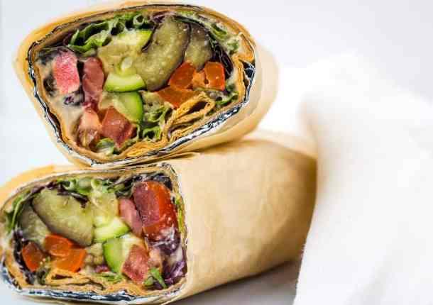 lavash wrap sandwich close up