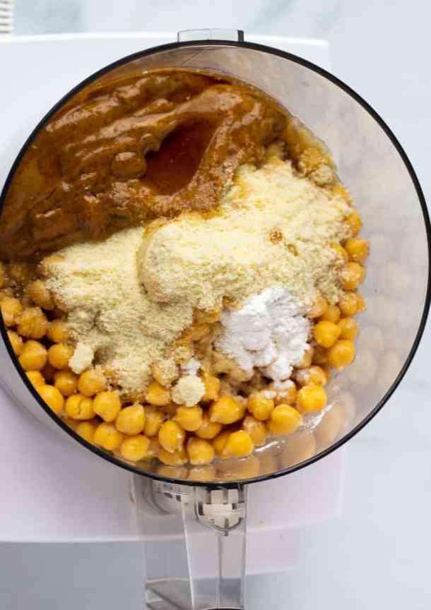vegan blondie ingredients in food processor