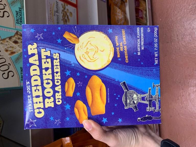 Trader Joe's snacks: Trader Joe's Cheddar Rocket Crackers, Trader Joe's cheddar rockets