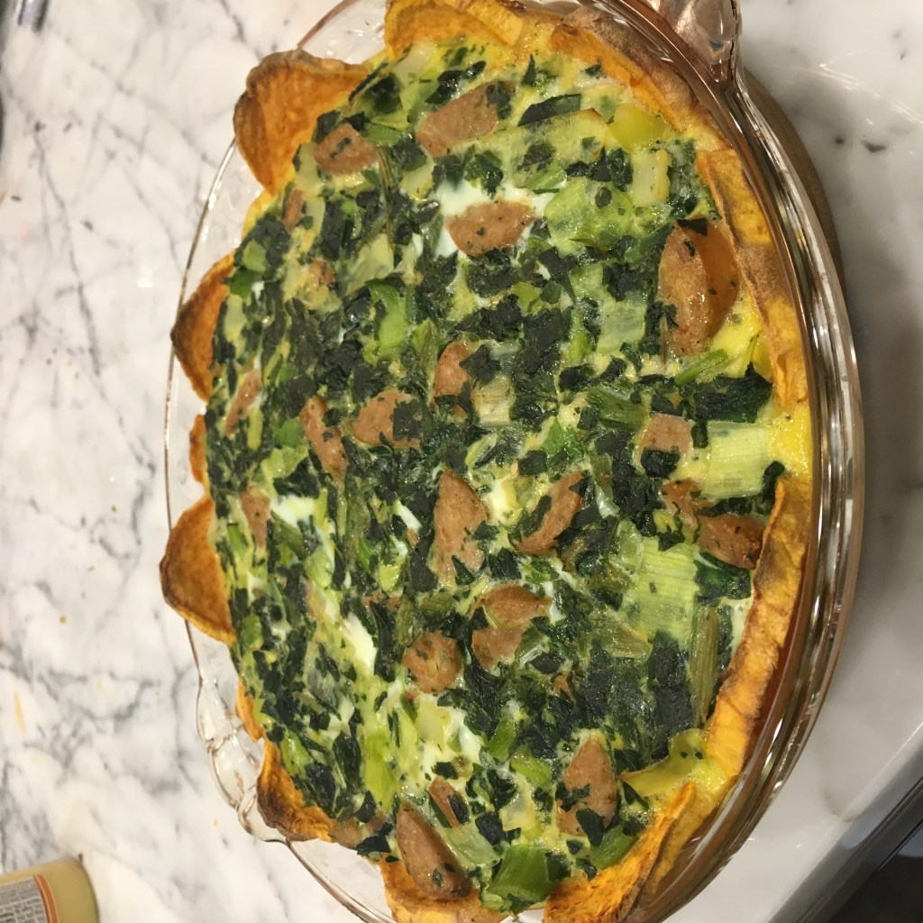Whole 30 Breakfast Idea: Sausage, Leek and Spinach Quiche