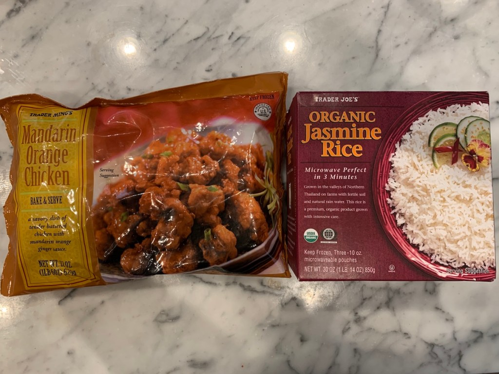 Easy Trader Joe's Dinner Ideas: Mandarin Orange Chicken and Organic Jasmine Rice. Another Trader Joe meals in minutes!