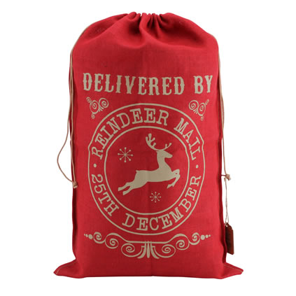 Personalised Red Hessian Christmas Sack Delivered By