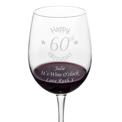 Personalised 60th Birthday Wine Glass