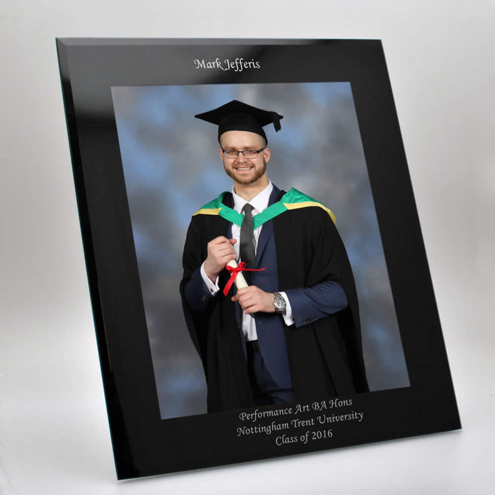 Black Glass Graduation Photo Frame 10x8
