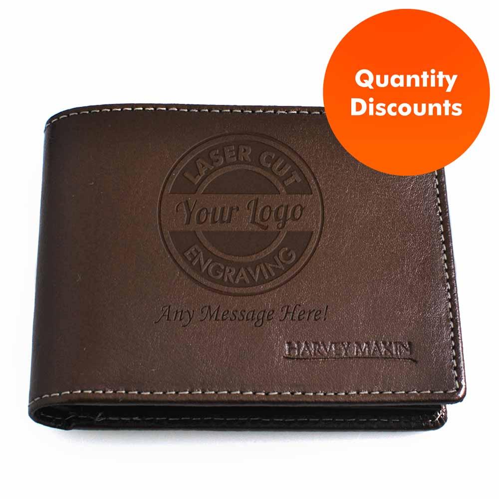 Logo Engraved Personalised Brown Wallet