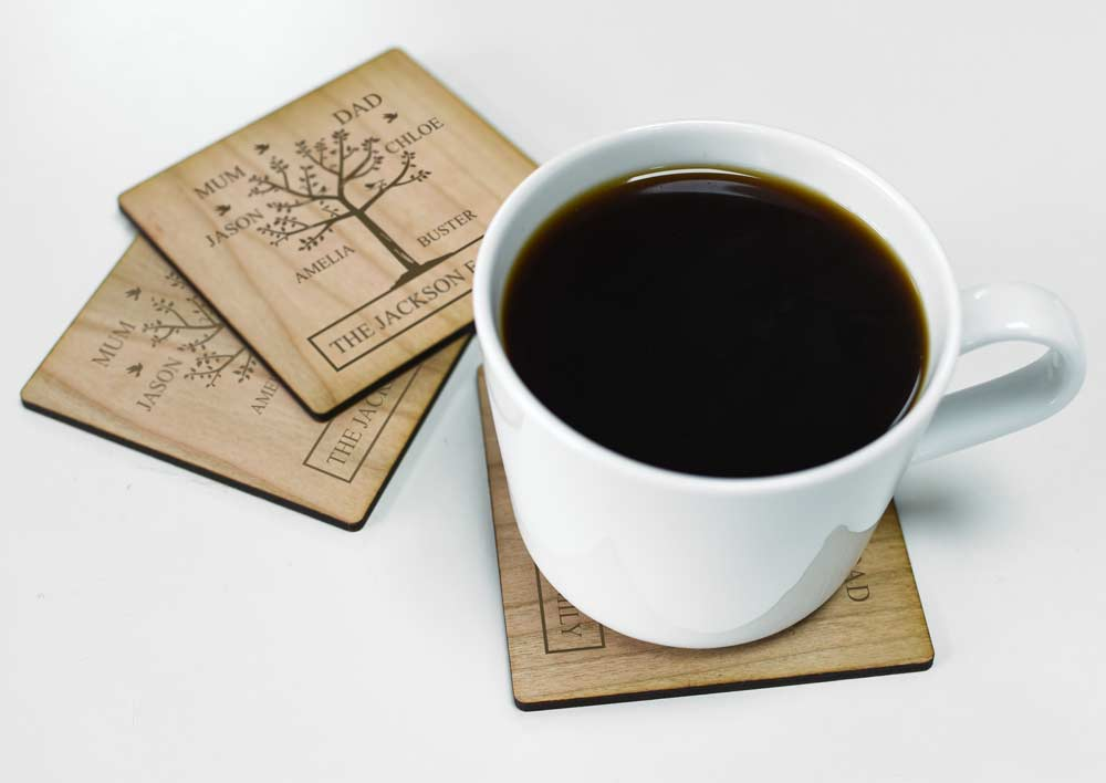 Personalised Family Tree Wooden Coaster Set