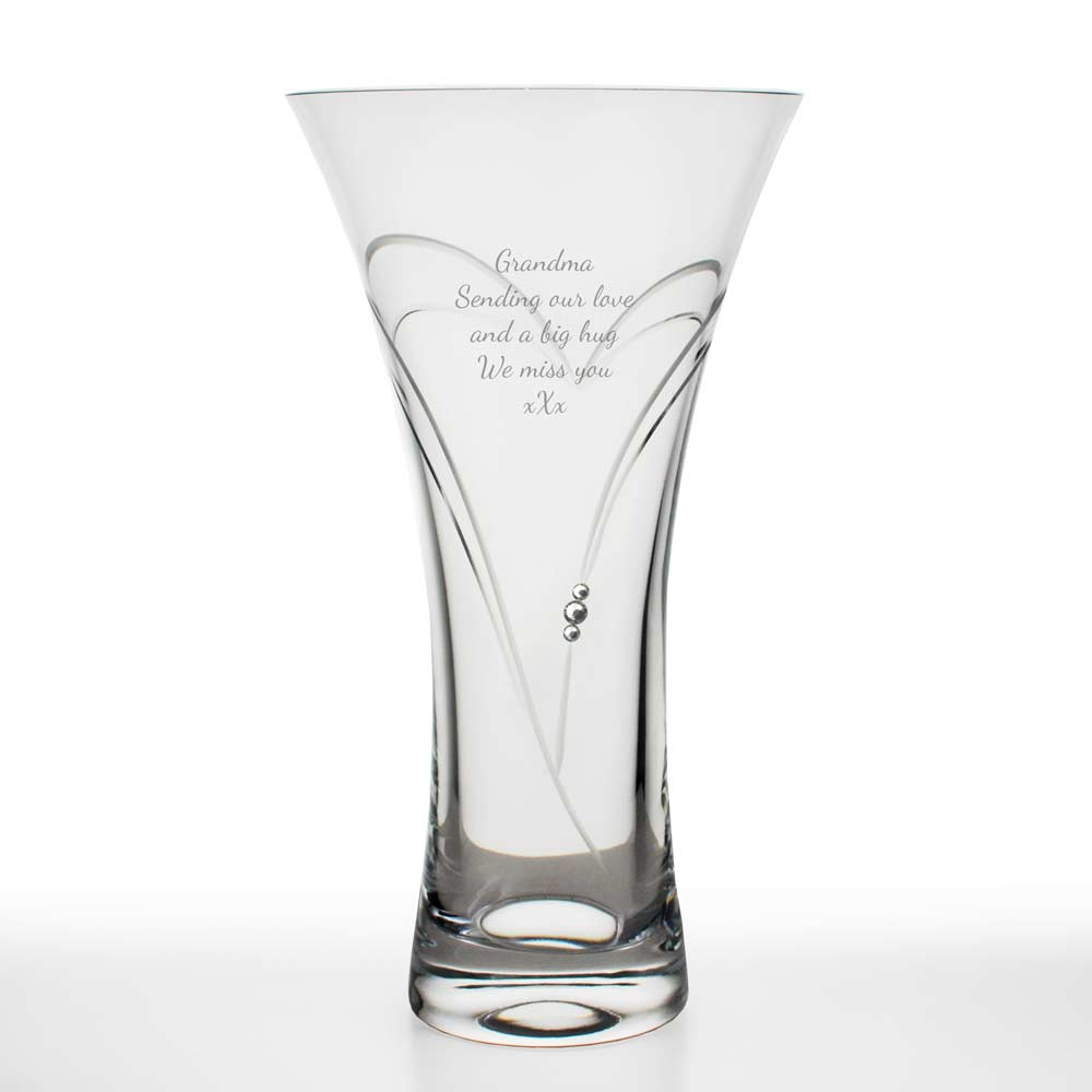 personalised crystal heart vase