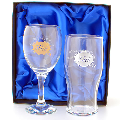 Anniversary Wine And Beer Glass Set Personalised With Any