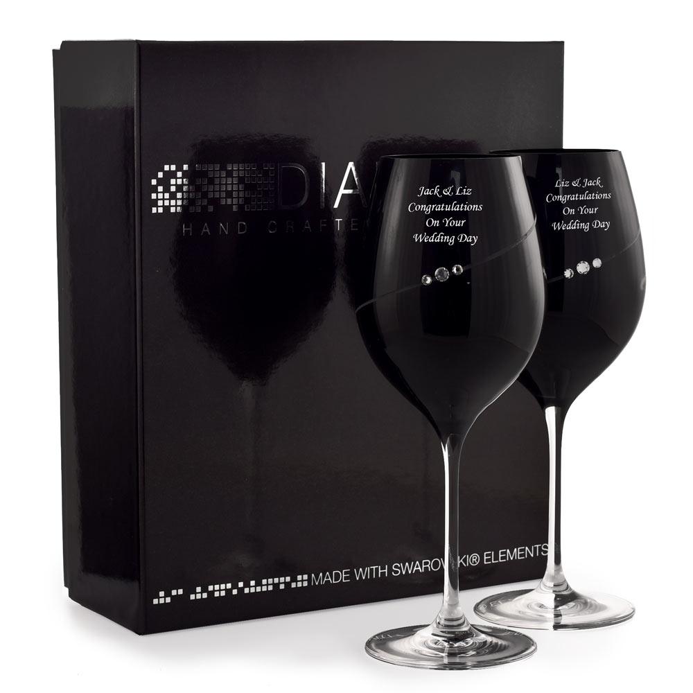Personalised Black Wine Glasses With Swarovski Elements