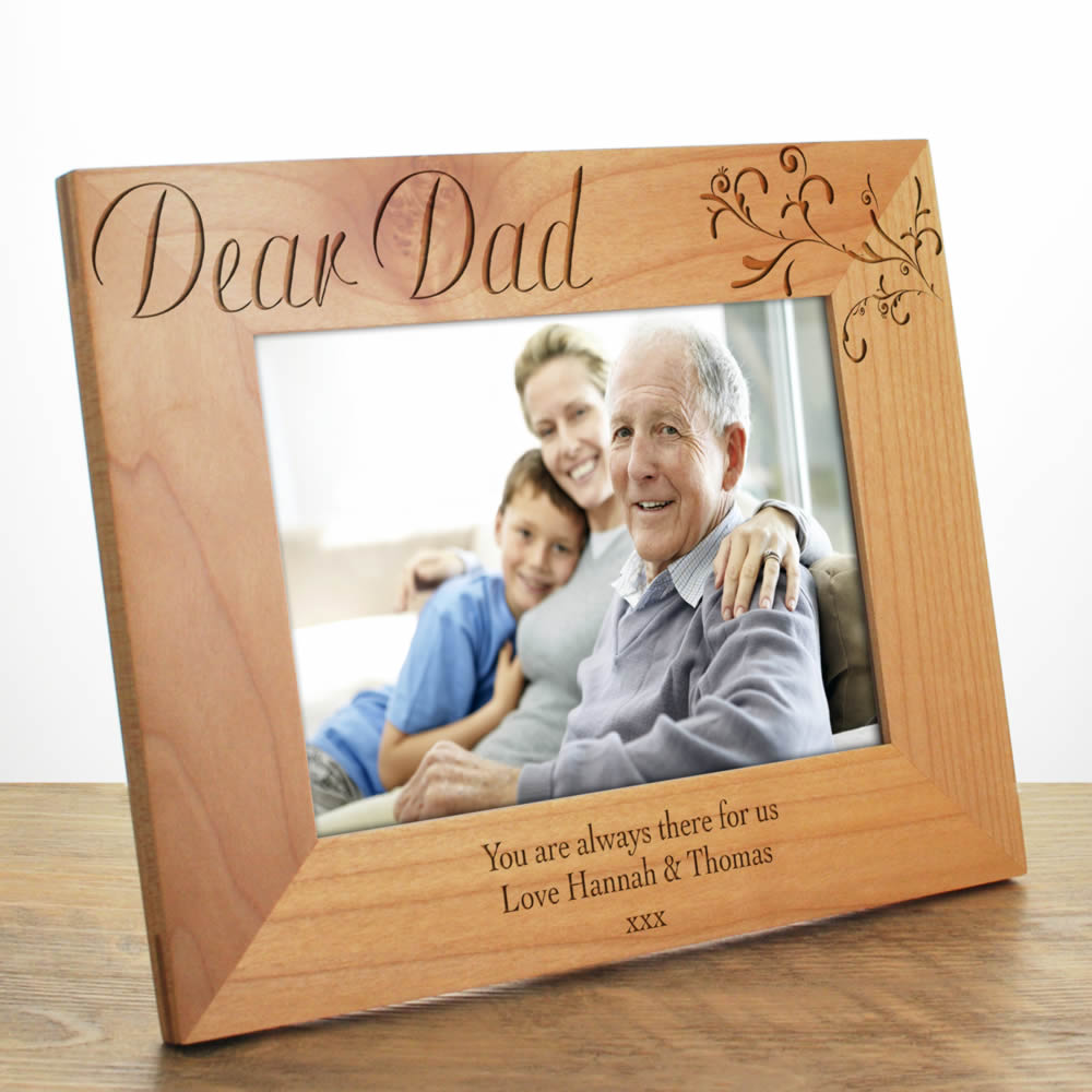 Personalised Photo Frame Dad Laser Engraved Wooden Photo